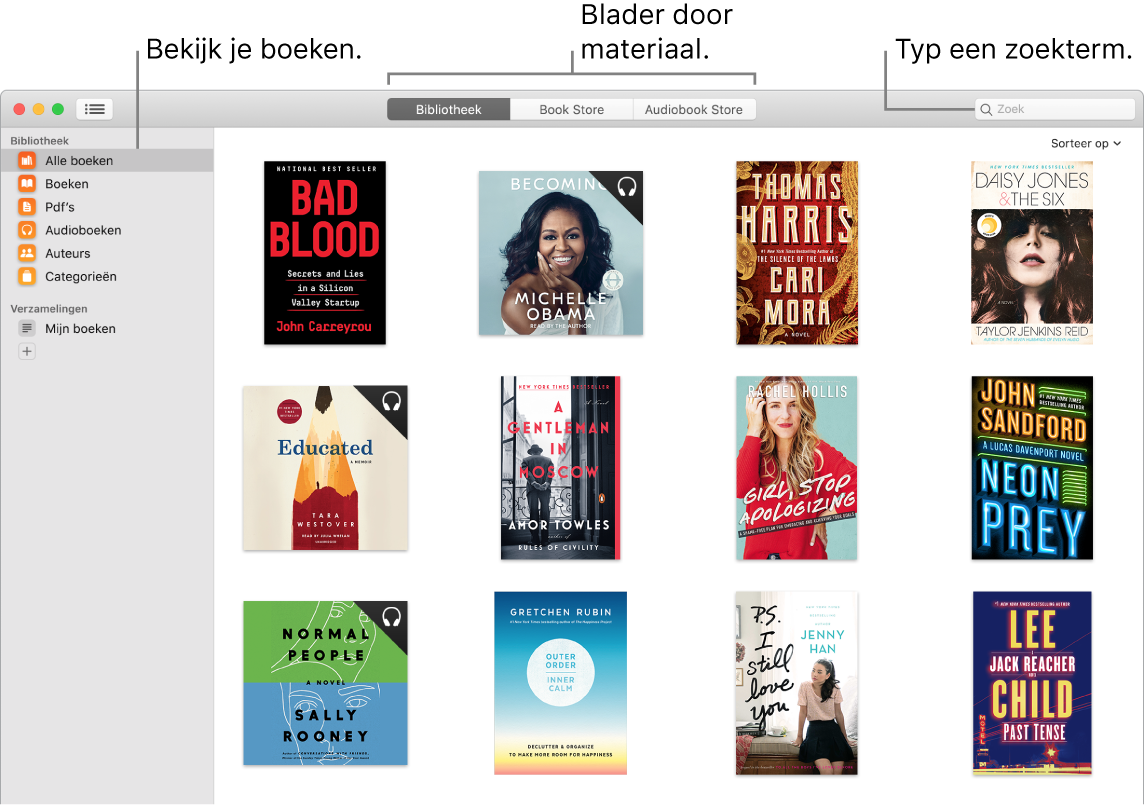 Een venster van de Boeken-app waarin wordt aangegeven hoe je boeken kunt bekijken, door samengestelde inhoud kunt bladeren en materiaal kunt zoeken.