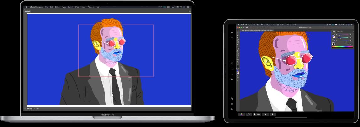 Een MacBookPro en een iPad naast elkaar. Op de MacBookPro wordt een illustratie weergegeven in het navigatiepaneel van Illustrator. Op de iPad is dezelfde illustratie te zien in het documentvenster van Illustrator, omgeven door knoppenbalken.