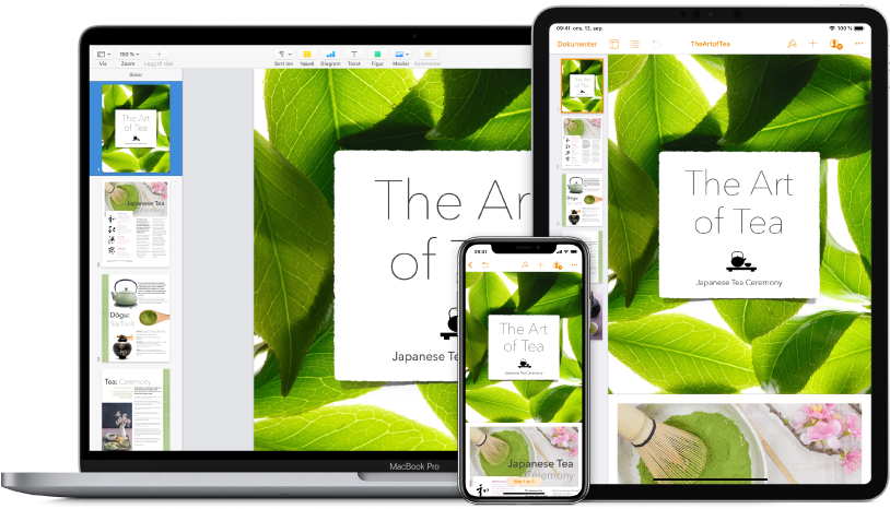 iCloud-innhold som blir brukt på tvers av ulike enheter.