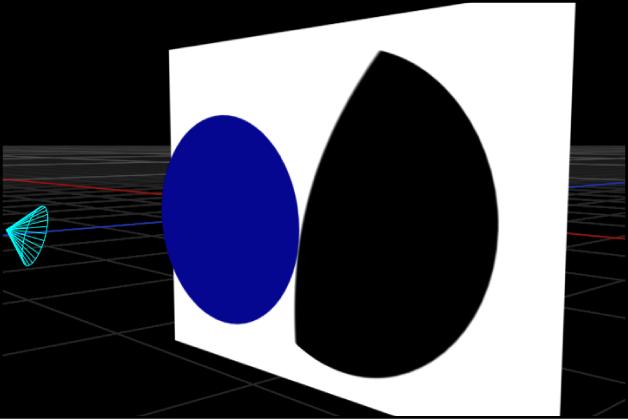Canvas mit einem Scheinwerferlicht, das einen Schatten wirft, der aus dem Ausleuchtungsbereich seines Lichtkegels herausfällt, wenn der Schattierungseffekt für den Lichtkegel deaktiviert ist.
