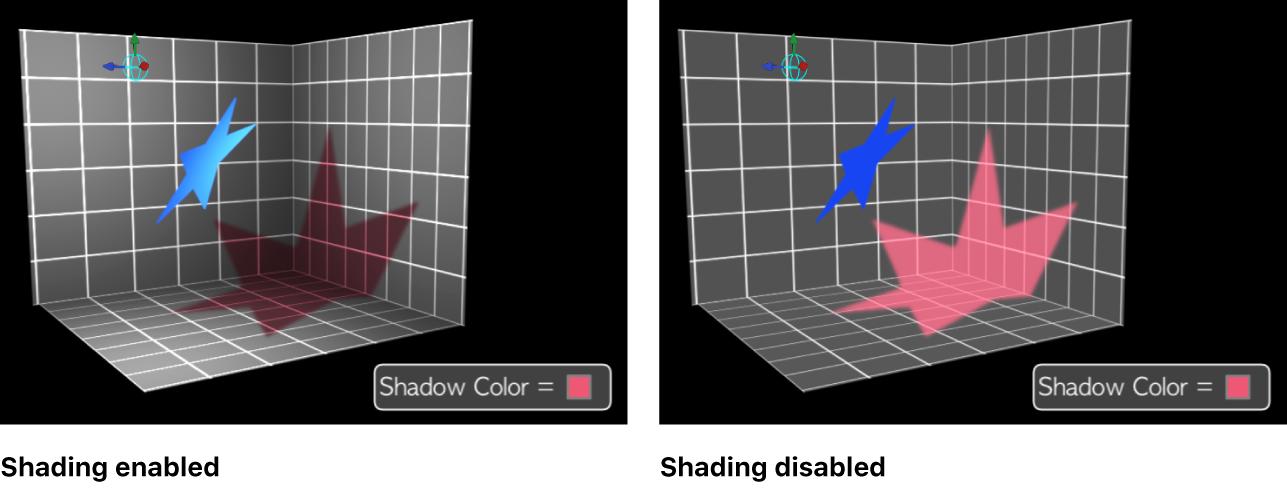 Canvas mit einem Schatten mit aktivierter bzw. deaktivierter Schattierung