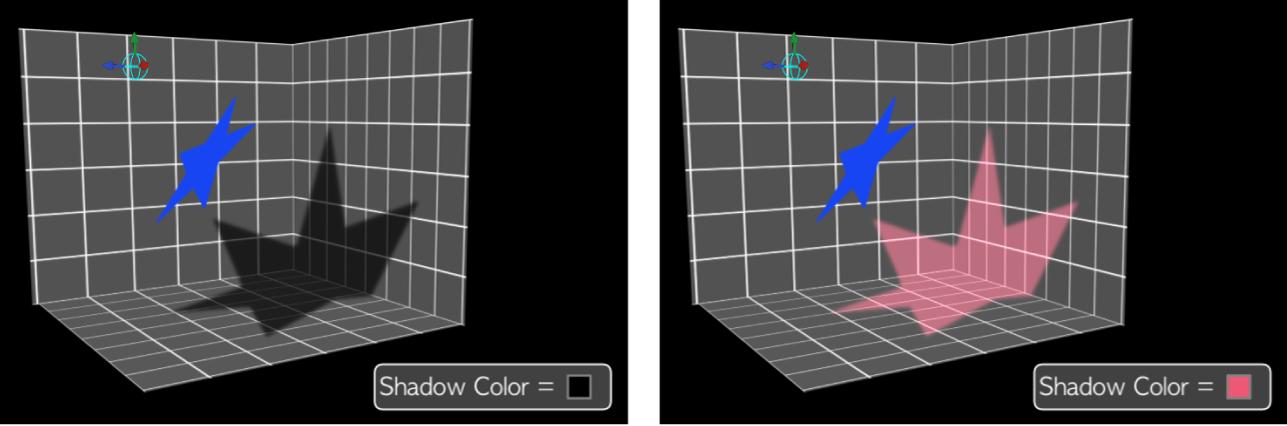 Canvas mit Schatten in unterschiedlichen Farben, bei denen die Schattierung deaktiviert ist