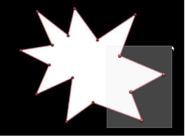 Canvas mit mehreren, durch einen Auswahlrahmen, ausgewählten Steuerpunkten einer Form