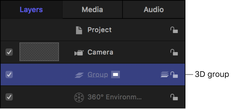 Layers list showing 3D group