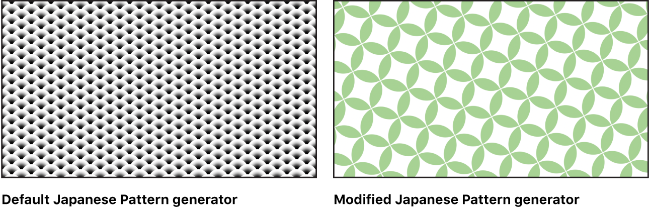 Canvas showing Japanese Pattern generator with a variety of settings