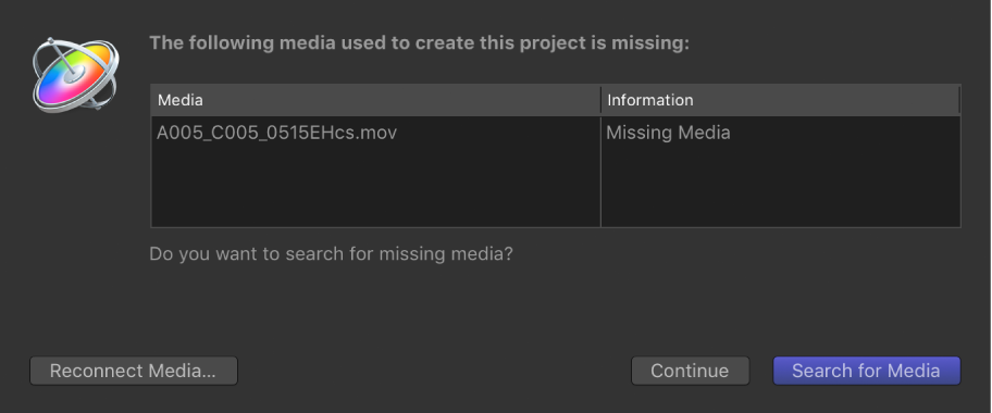 Dialog showing list of files with missing media