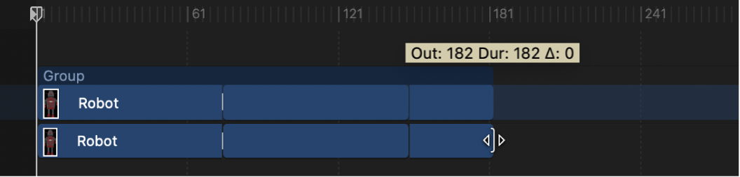 Extending the duration of a 3D object's timebar in the Timeline