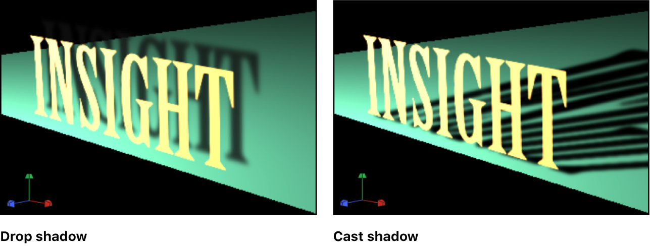 Canvas showing examples of drop shadow and cast shadow
