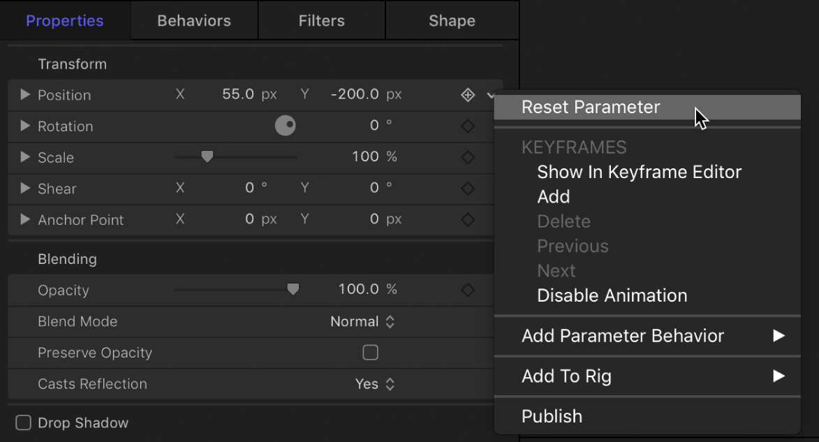 Reset parameter in the Animation menu
