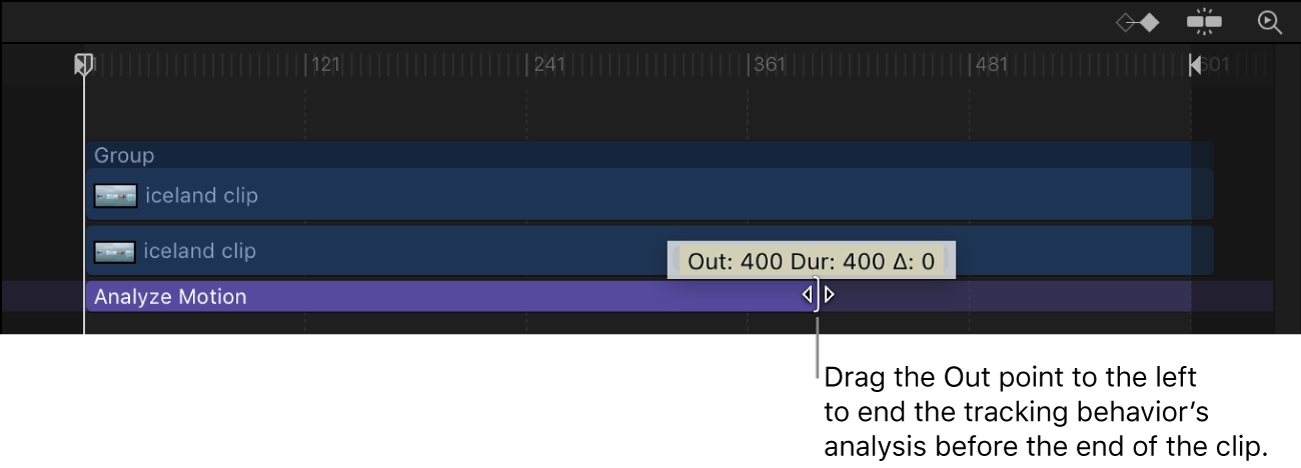 Adjusting the Out point of a tracking behavior in the Timeline