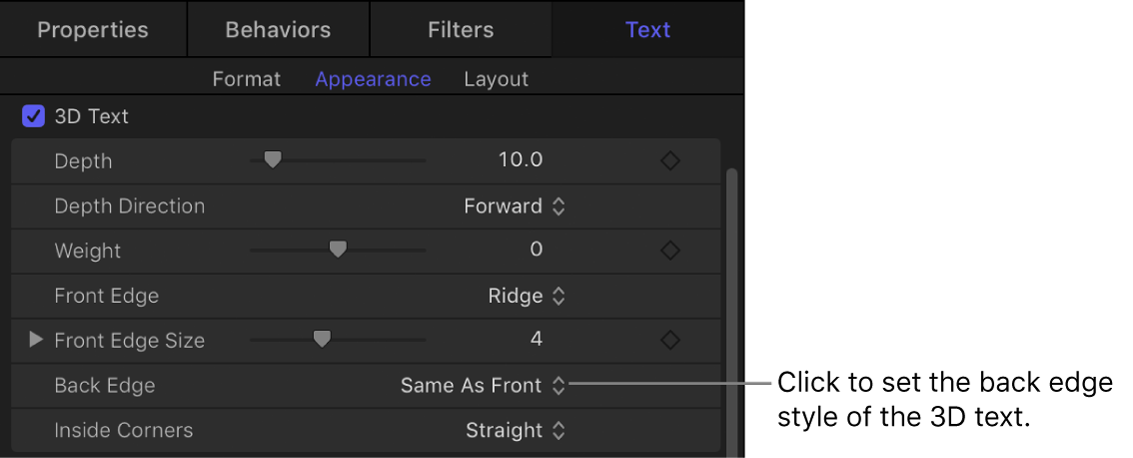 Back Edge parameter in the Appearance pane of the Text Inspector