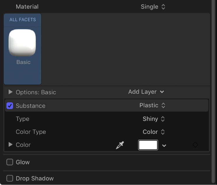 3D Text Inspector showing Basic White material