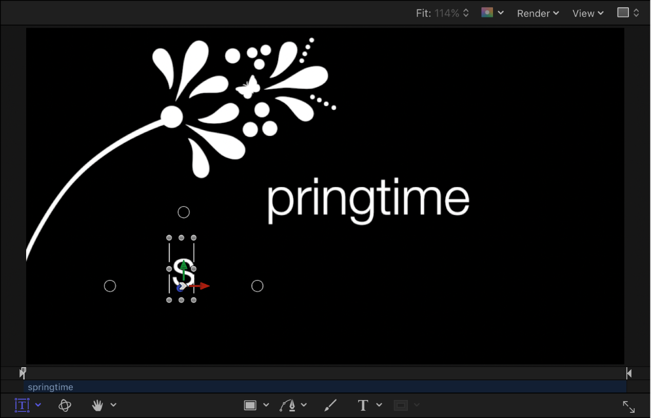 Canvas showing starting point of animation
