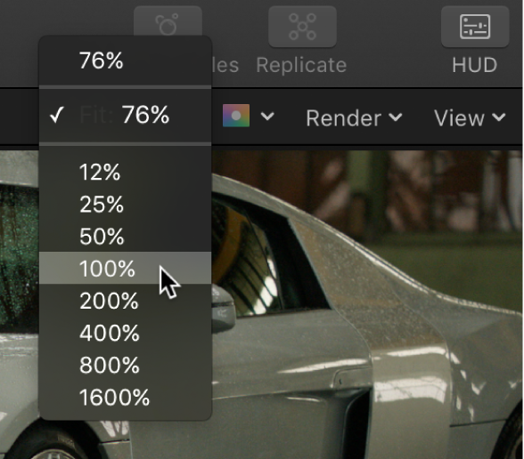 Zoom Level pop-up menu in the canvas
