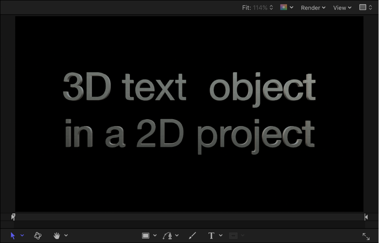 Canvas showing example of 3D text in a 2D project