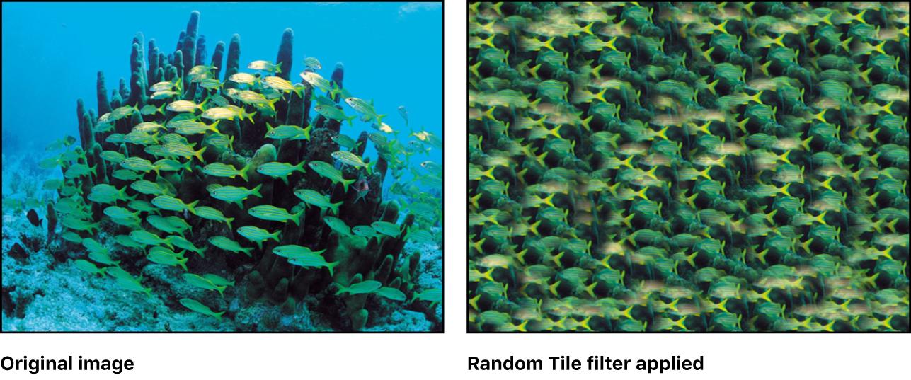 Canvas showing effect of Random Tile filter