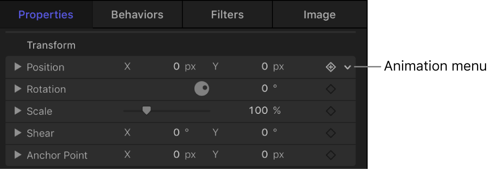 Animation menu icon in the Inspector