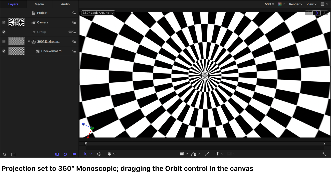 Canvas showing a Checkerboard generator displayed in 360° Monoscopic projection while dragging the Orbit control