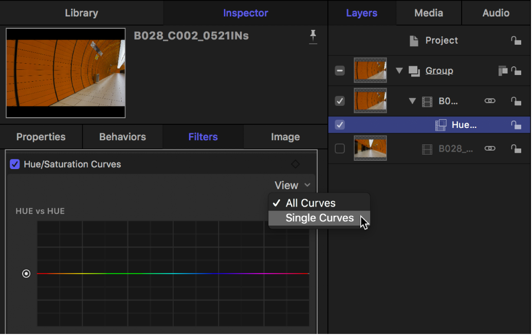 Display options in the Hue/Saturation Curves View pop-up menu in the Filters Inspector