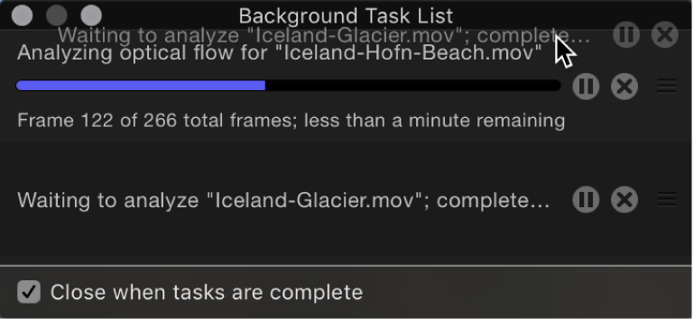 Background Task List showing task order being rearranged