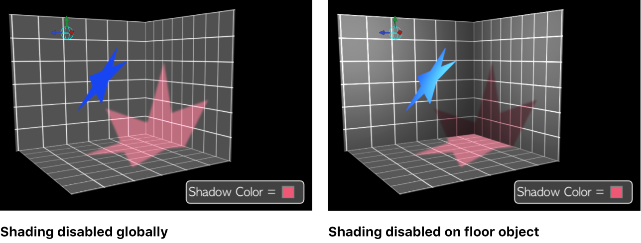 Canvas showing shading disabled globally, and disabled on an individual object