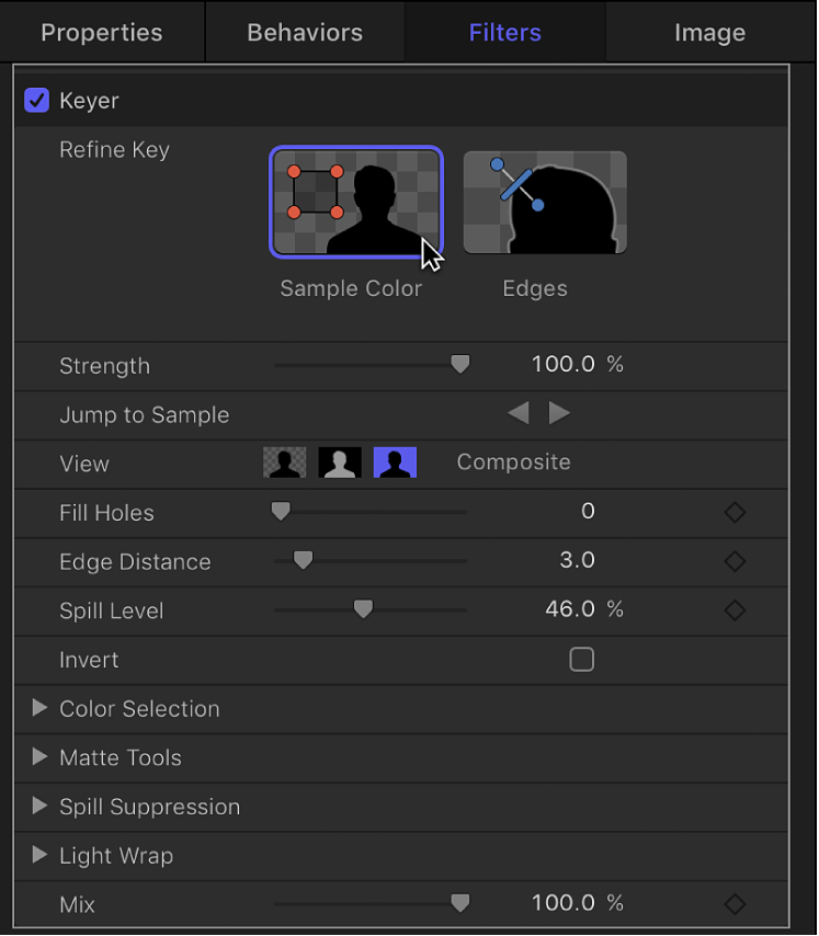 Clicking the Sample Color tool in HUD