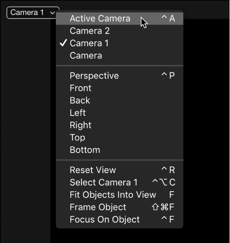 Choosing Active Camera from the Camera pop-up menu in the canvas