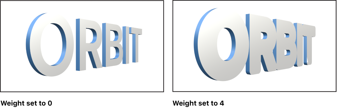 Canvas showing 3D text with Weight set to 0 and 3D text with Weight set to 4