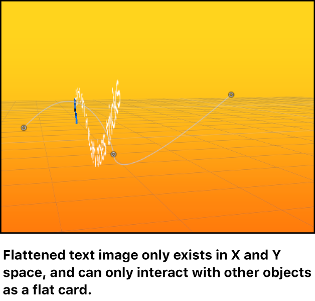 Canvas showing flattened text object in 3D space