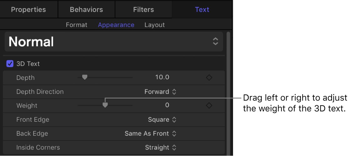 Appearance pane of the Text Inspector showing the Weight parameter