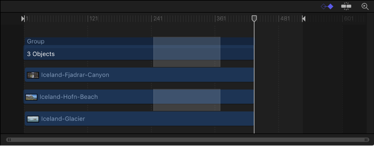 Timeline showing one track deselected from a region