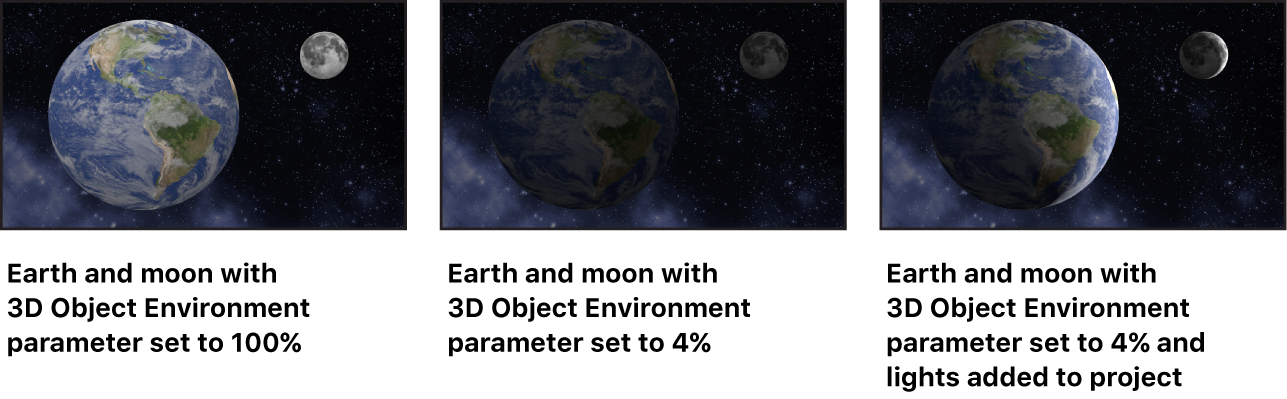 Images showing the effect of the 3D Object Environment settings on 3D objects