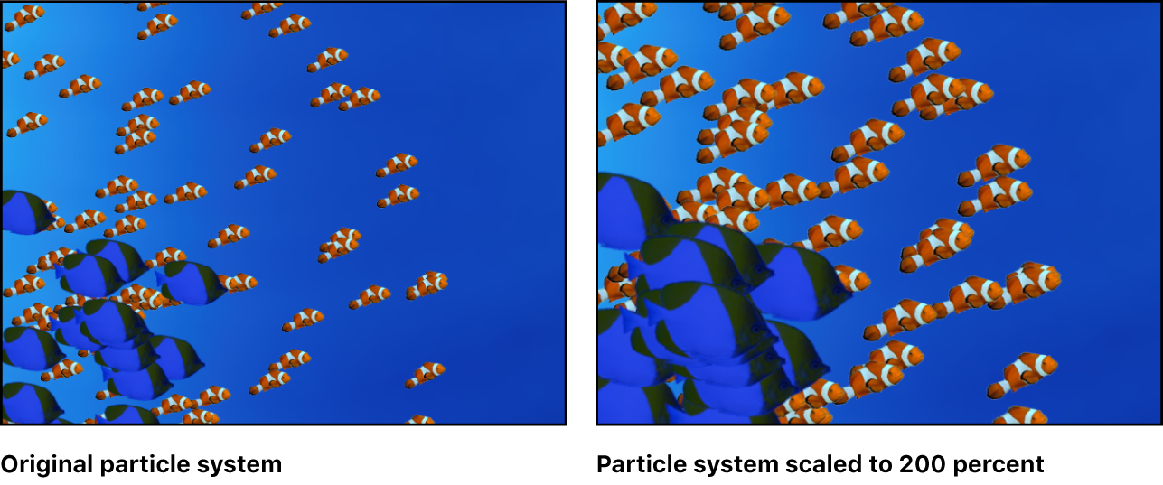 Canvas showing particle system with two cells, each scaled relative to its original size