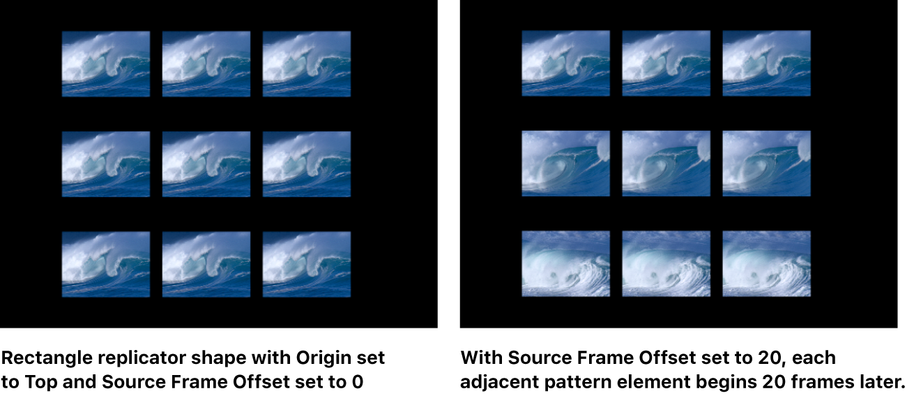 Canvas showing replicator with Source Start Frame Offset applied