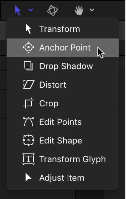 Selecting the Anchor Point tool from the transform tools pop-up menu