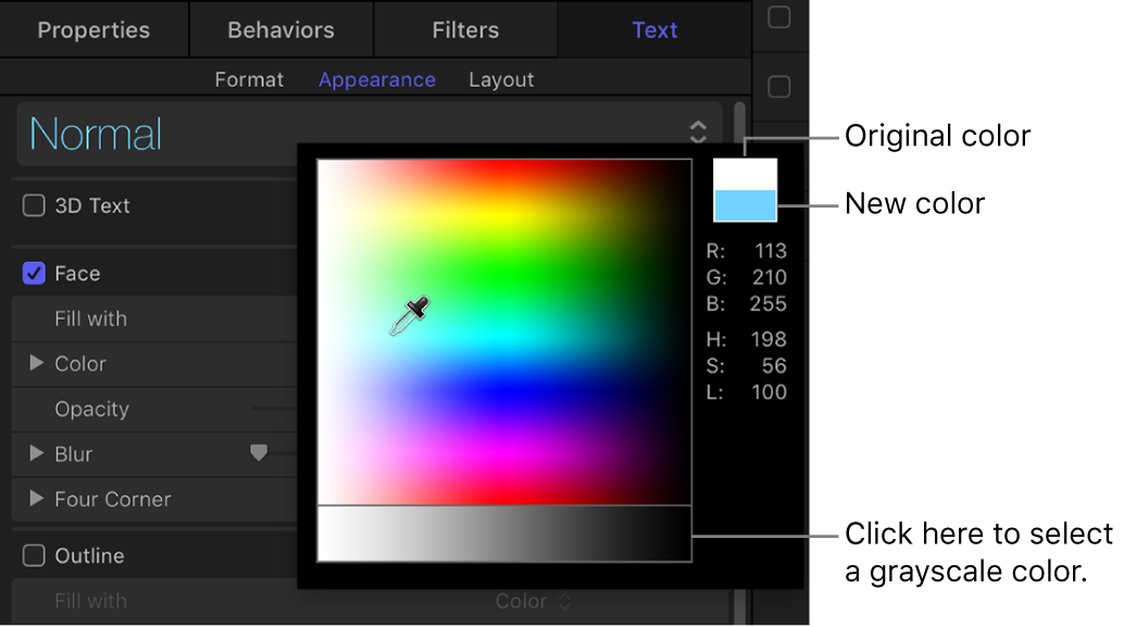 Pop-up color palette showing original and new color swatches and grayscale color selection area