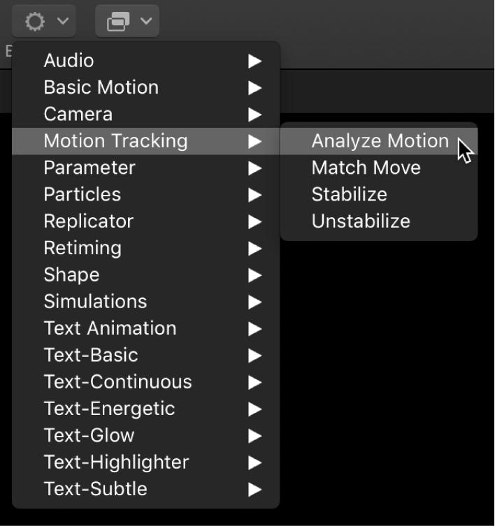 Toolbar showing Behaviors pop-up menu and Motion Tracking behaviors submenu