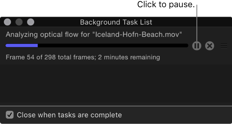 Background Task List showing pause button