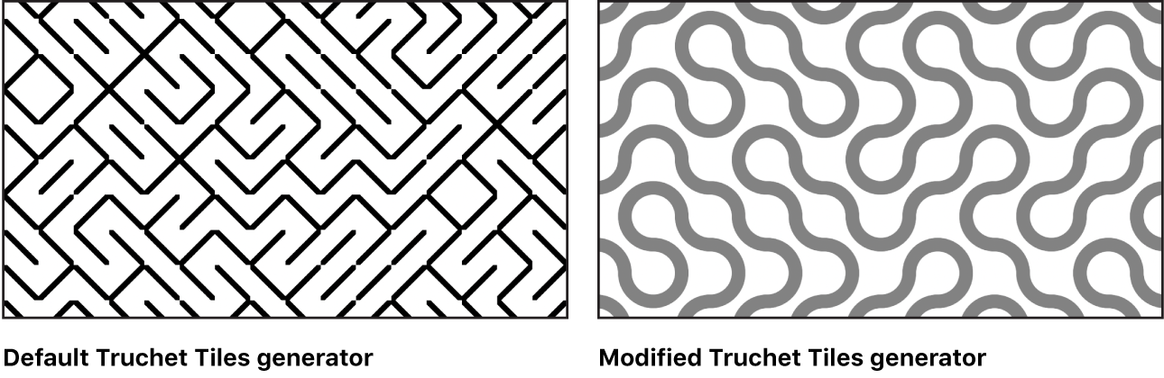 Canvas showing Truchet Tile generator with a variety of settings