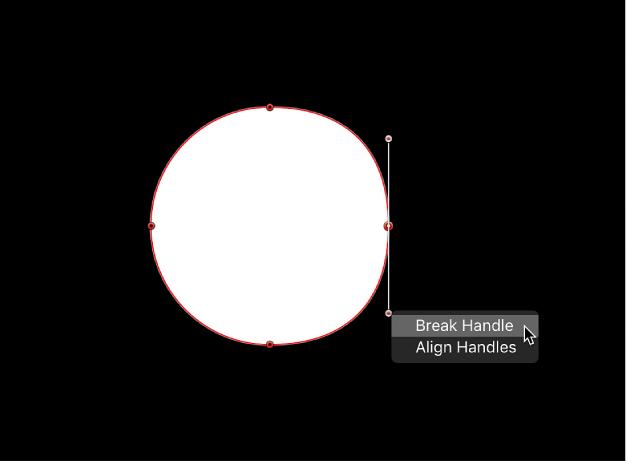 Break Handle/Align Handles shortcut menu