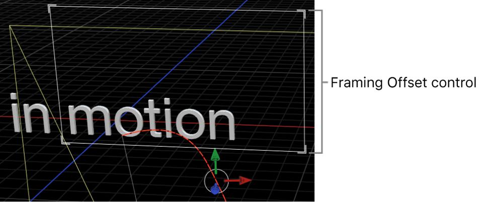 Canvas showing onscreen controls for Camera Framing behavior's Framing Offset parameter