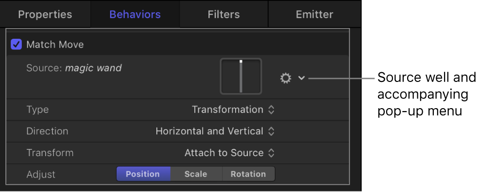 Inspector showing Match Move behavior settings
