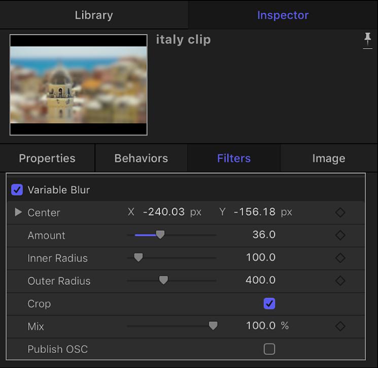 Filters Inspector