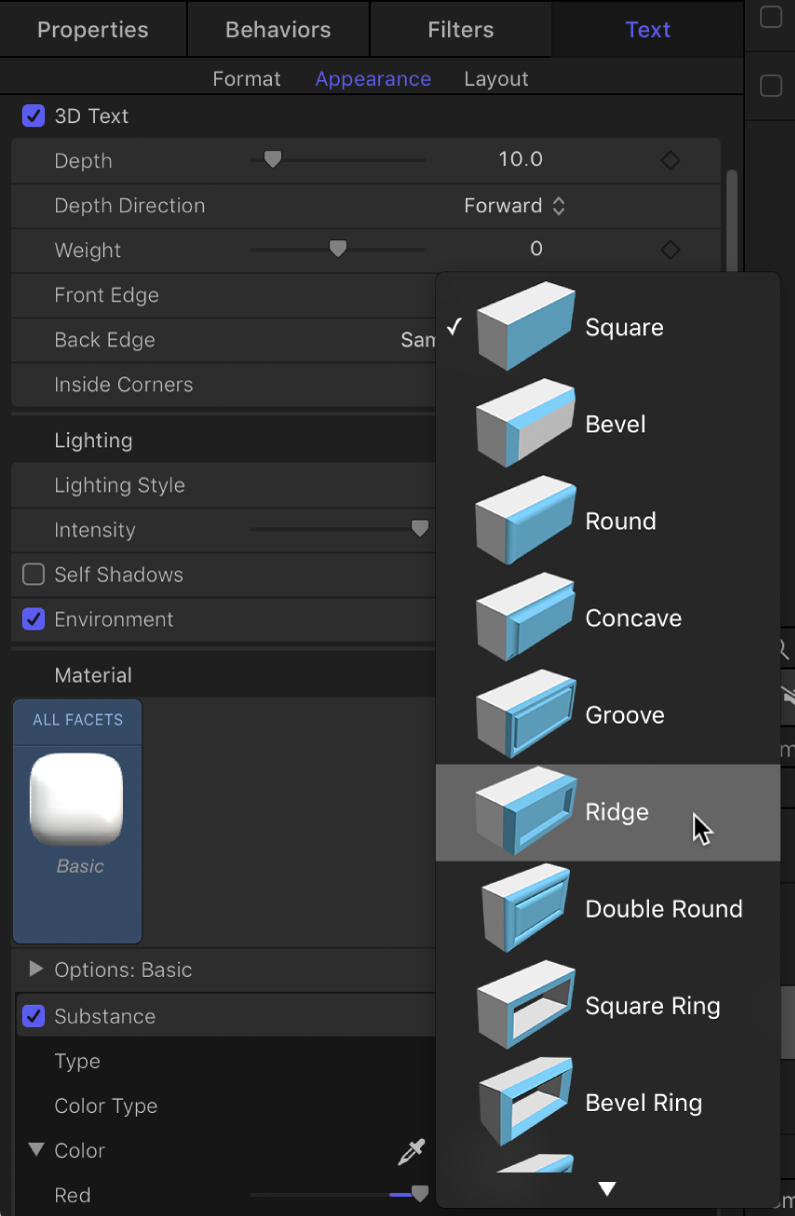 Inspector showing 3D text Front Edge shape options