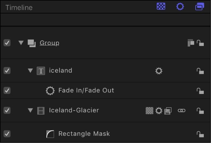 Timeline showing layers list