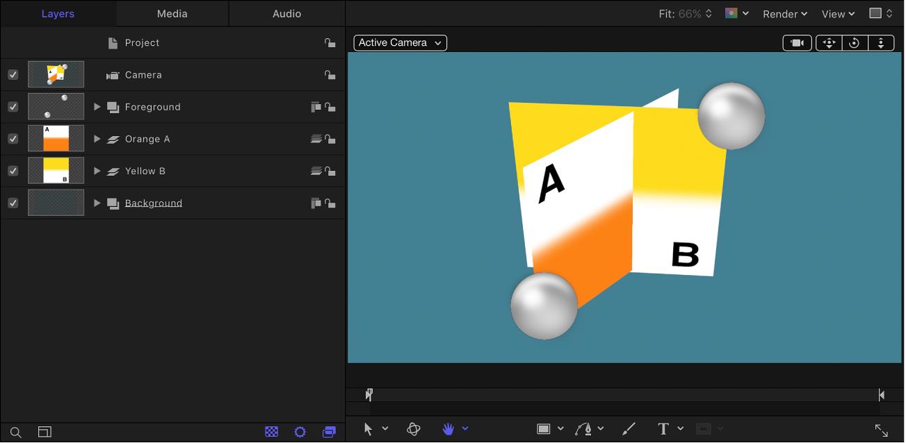Lista Capas y lienzo con una disposición de capas que contiene grupos tanto 2D como 3D