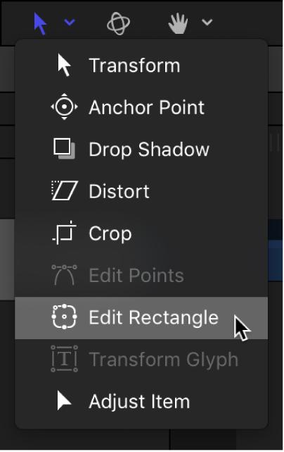 """Selección de la herramienta """"Editar rectángulo"""" de las herramientas de transformación de la barra de herramientas del lienzo"""