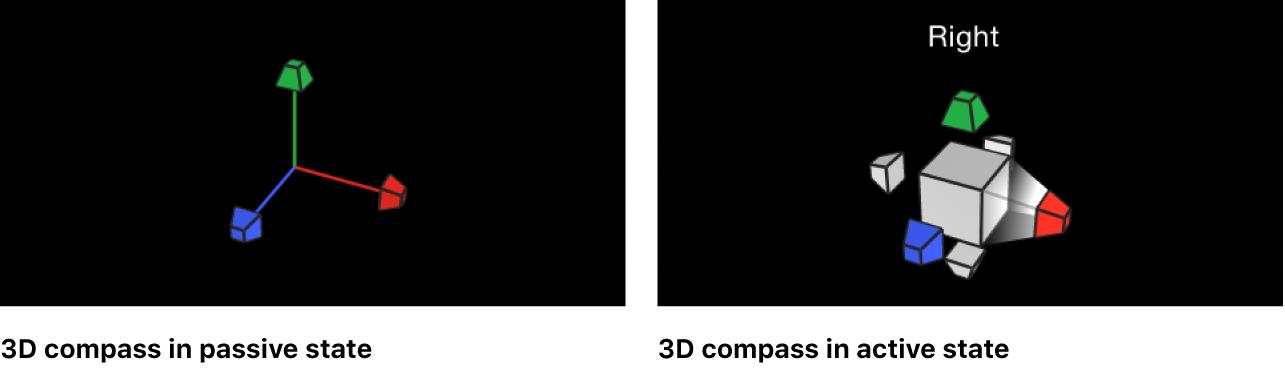 Lienzo y brújula 3D en los estados pasivo y activo