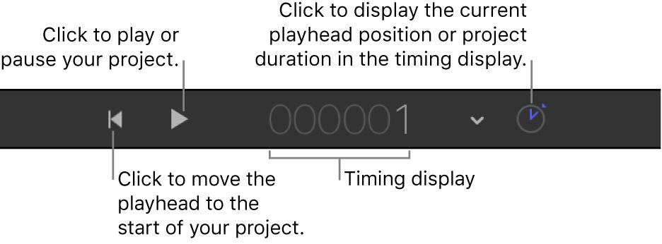 Controles de transporte en la barra de herramientas de temporización