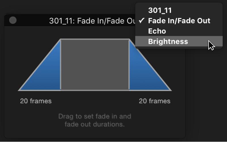 Pantalla semitransparente con menú desplegable de opciones de los conjuntos de controles